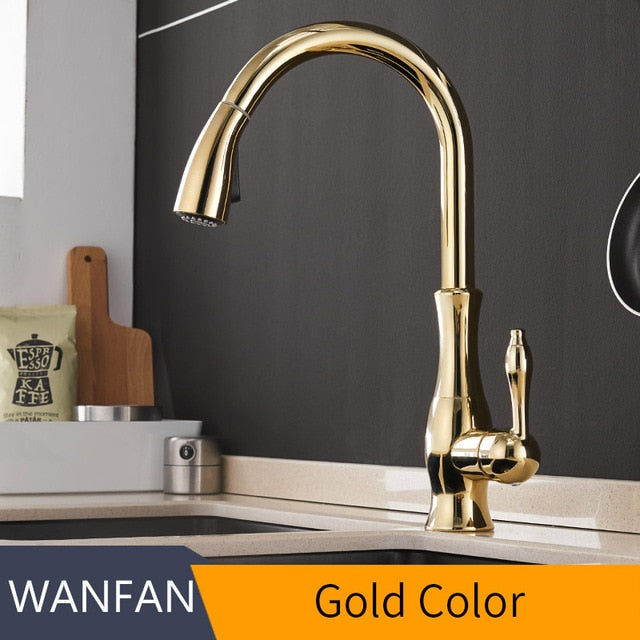Gold Kitchen Faucets Silver Single Handle Pull Out Kitchen Tap Single Hole Handle Swivel Degree Water Mixer Tap Mixer Tap 866011