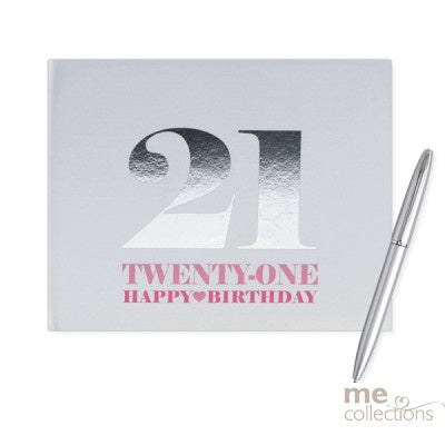 Guestbook - 21st Birthday Pink with Pen  (T521F)