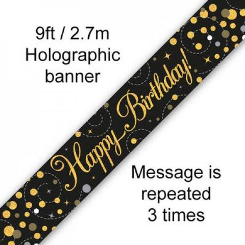 Banner - Happy Birthday - Black & Gold (625501)