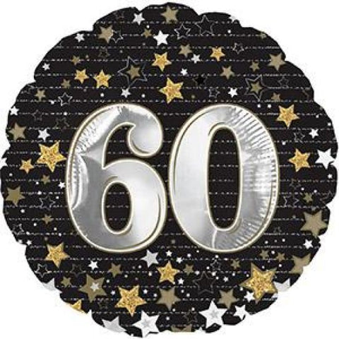 "Foil - 18"" - 60th (Black & Gold stars) (114394)"