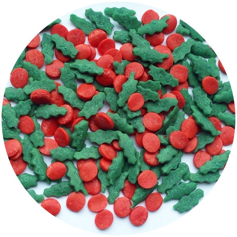 Edible Sprinkles - Christmas Holly & Berries