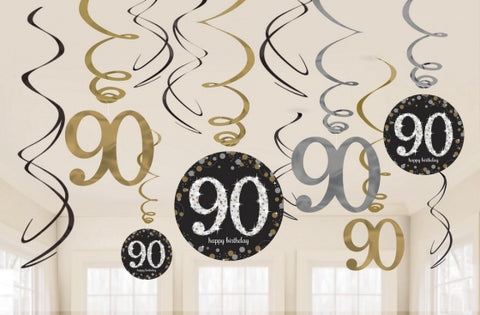 Hanging Swirl Decorations - 90th (Black & Gold) (9901731)
