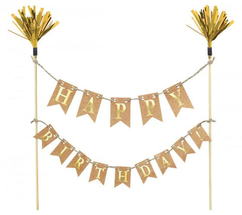 Cake Picks - Happy Birthday (Gold) (100032)