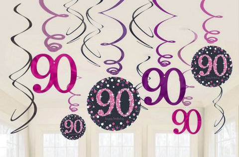 Hanging Swirl Decorations - 90th (Pink) (9901763)