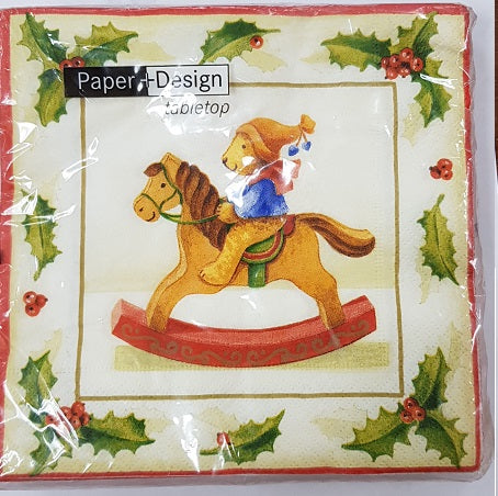 Napkins - Pkt 20 - Christmas Rocking Teddy (60410)