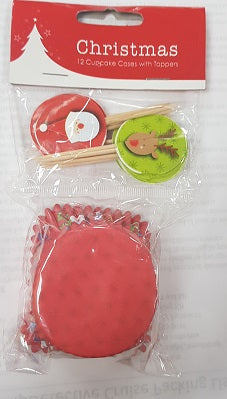 Cupcake Case with topper - Christmas (C1261)
