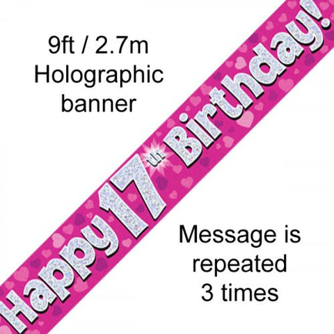 Banner - Happy 17th Birthday (Pink)