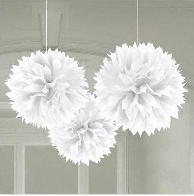 Paper Fluffy Decorations 3pce - White (18055.08)