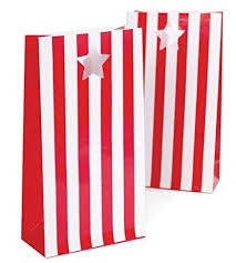Paper Bags - Red & White Stripes (12 bags) (LBCC1701)