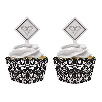 Cupcake Wrappers with Topper - Black & White Damask (198504)