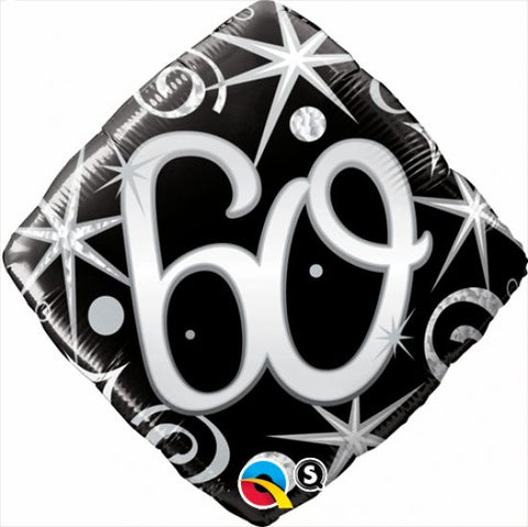 "Foil - 18"" - 60th (Diamond Black & Silver) (30030)"