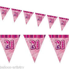 Flag Bunting - 21st (Pink) (55293)