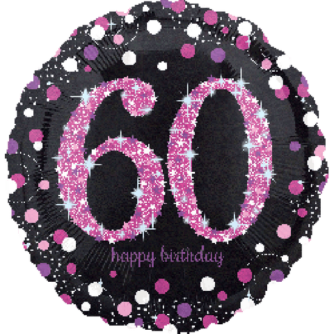 "Foil - 18"" - 60th - Sparkling (Black & Pink) (33788)"