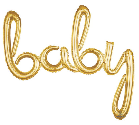 Airfilled balloon - Script BABY - Gold & Silver