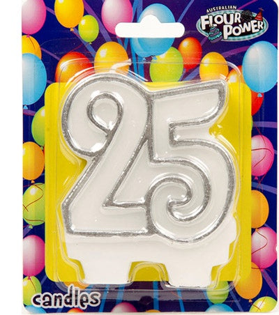 Candle - 25th  - Silver
