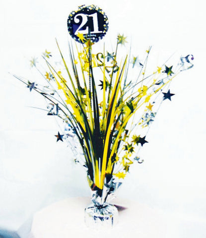 Spangle Centrepiece - 21st (Gold & Black) (9900560)