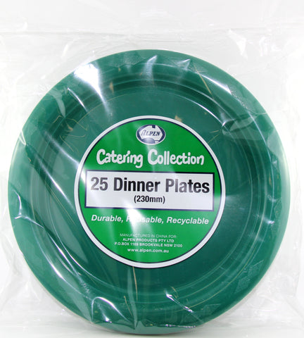"Plates - 9"" - Dinner - Pkt 25 - Hunter Green"