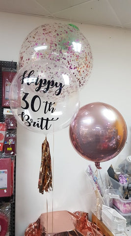 "3 Foot Confetti Filled balloon, 1 x 24"" Personalised Deco Bubble & 1 x Orbz"