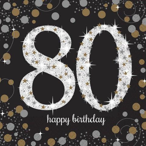 Napkins - 80th - Sparkling (Gold & Black) (9901721)