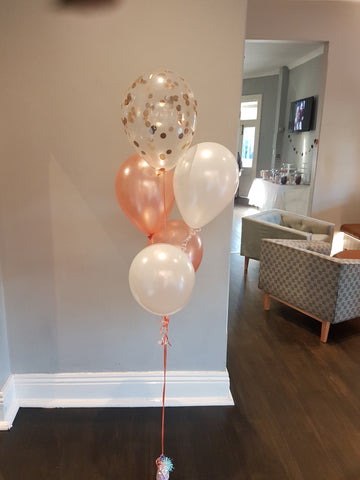 "11"" confetti Balloon with 4 x Latex balloons & weight"