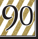 Napkins - 90th - Black & Gold Stripes (317545)