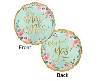 "Foil - 18"" - From Miss to Mrs (38692)"