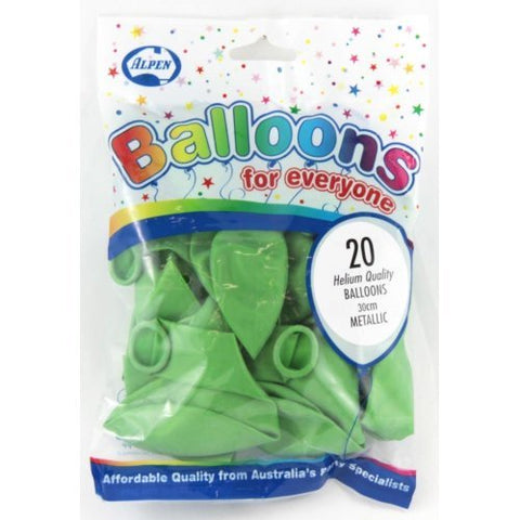 Balloons - Pkt 20 - Metallic Lime Green