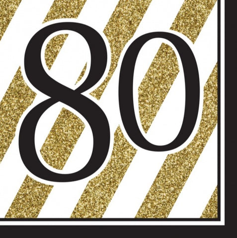 Napkins - 80th - Black & Gold Stripes (317544)