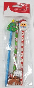 Christmas - 3 Pencils with Easer Topper (C1279)