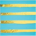 Napkins - Touch of Candy - Bermuda Blue & Gold Stripes (329946)