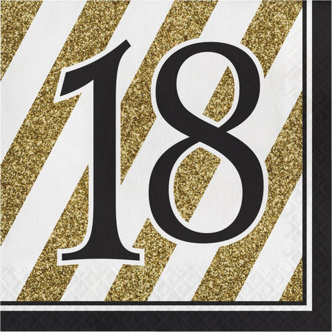 Napkins - 18th (Black & Gold stripes)