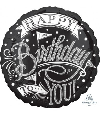 "Foil - 18"" - Happy Birthday to You! (Black & Silver) (37407)"