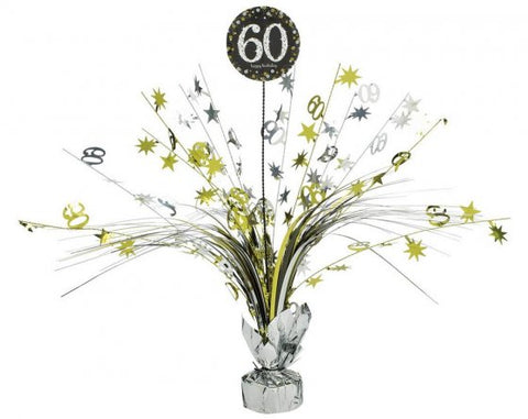 Spangle Centrepiece - 60th (Gold, Silver & Black) (110296)