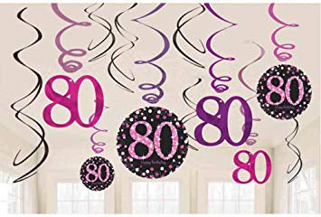 Hanging Swirl Decorations - 80th (Pink) (9001755)