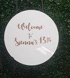 Personalised Acrylic Round (Hire only)