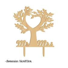 Cake Topper - Mr & Mrs - Tree - Wooden