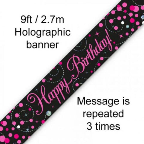 Banner - Happy Birthday (Black & Pink) (625792)