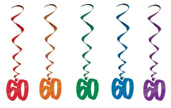 Hanging Swirl Decorations - 60th (Multicoloured) (57551-60)