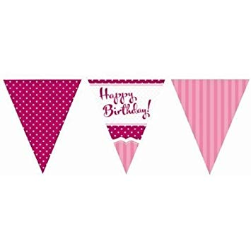 Flag Bunting - Pink - Happy Birthday (M105)