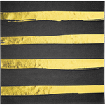 Napkins - Touch of Candy - Black & Gold Stripes (329934)