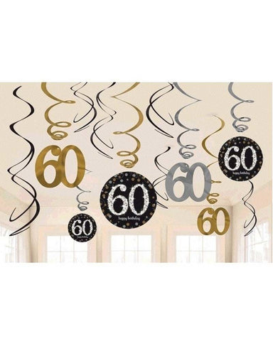Hanging Swirl Decorations - 60th (670480)