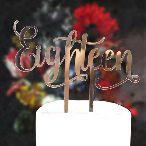 Acrylic Cake Topper - Eighteen (18) - Rose Gold