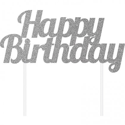 Silver Glittered Cake Topper - Happy Birthday (324541)