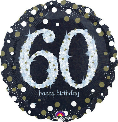 "Foil - 18"" - 60th - Sparkling (Black & Silver) (32132)"