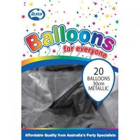 Balloons - Pkt 20 - Metallic Black