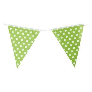 Flag Bunting - Green & White Spots (10021)
