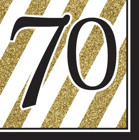 Napkins - 70th - Black & Gold (317543)