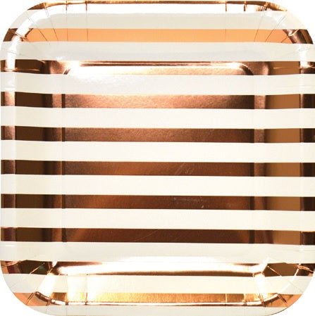 "Plates - 9"" - Square - Rose Gold Stripes (E5015)"