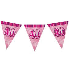 Flag Banner - 40th (Pink & Blue) (55295)