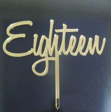 Cake Topper - Eighteen - Gold